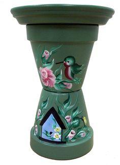 Clay Pot Birdbath by Karen B. A.C. Moore Erie, PA #claypot #craft