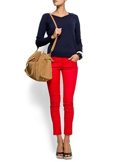 Just bought red pants! Looking for fashion ideas on how to wear them :) navi blue, fashion, red trousers, cloth, style, red jeans, navy, red pant, blues