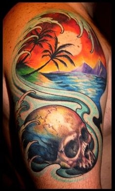 skull and sunset palm tree ocean mountains tattoo by Cory Norris of Grass Valley, CA
