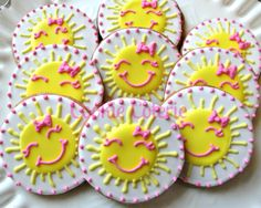 You Are My Sunshine Cookies Decorated Sun Cookies Birthday Cookie Favors. $25.00, via Etsy.