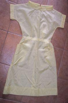Vintage 50s 60s Penneys dacron wash'n wear dress shirtwaist nurse uniform yellow rayon-like womens S/M