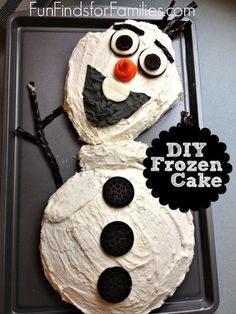 Homemade Olaf Cake Tutorial - This is amazing! #Frozen diy birthday cakes for kids, easy frozen cake, easy frozen birthday cake, fun cakes for kids, frozen diy cake, diy frozen cake, homemade kids birthday cakes, easy kids birthday cakes, homemade cake