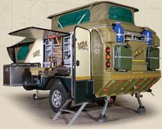 Off-road camper, ComfortVan is small & compact when towing, but opens up to sleep 4 with everything you could think of needing!