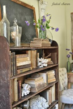 Faded Charm: ~Where Bloggers Create 2014~  If there are books I am in love.