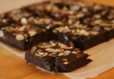 Ginger Almond Brownies (dailybites) -- ooh wonder how this would work with almond pulp in place of the almond flour. Subbing flax eggs too adding more baking powder and omitting baking soda.