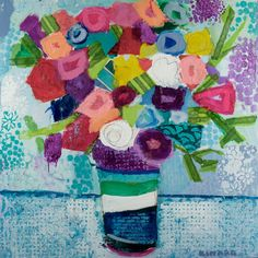 """My Favorite Flowers"" 36x36 mixed media Jules Place 617.542.0644"