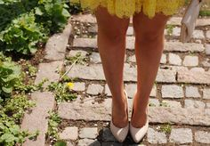Yellow lace dress and nude heels/shoes