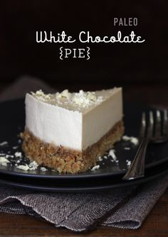 A delicious almond & date paleo pie crust with white chocolate pie filling.