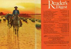 Reader's Digest front and back cover, October 1977  Illustration by:Stanley W. Galli  Find out more about Galli and check out more of his western artwork here.