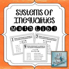 Systems of Inequalities Math Lib Activity - Students graph and identify solutions to systems of linear inequalities.