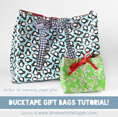 Cute Custom Gift Bags with Duck Tape Tutorial