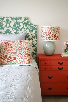 DIY Belgrave Headboard. Great Tutorial. Love the colour/pattern combos in this room