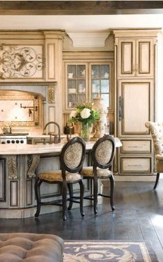 "French Country Kitchen: I am seriously considering painting our Brazilian Cherry cabinets - the ""painted"" kitchen is so gorgeous!"