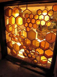 honeycomb window display
