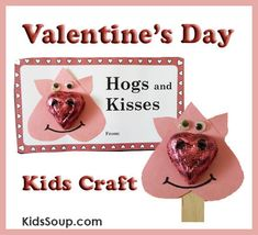 Hogs and Kisses Valentine's Day Kids Craft - cute Valentine's Day card and heart pig stick puppet :-) Free printables  - repinned by @PediaStaff – Please Visit  ht.ly/63sNt for all our pediatric therapy pins