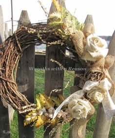 #Burlap Rose on #grapevine #wreath  www.facebook.com/wreathswithareason