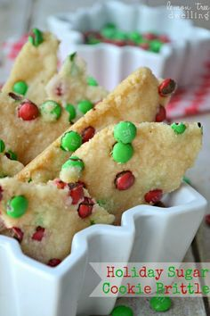 Holiday Sugar Cookie Brittle Recipe ~ Crunchy, crispy sugar cookie brittle decorated with red and green m&m's. A festive and delicious holiday treat!