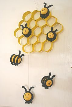 Bees:  plastic eggs, pipe cleaners, & toilet roll tubes