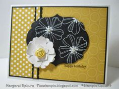Fun Stampin' with Margaret!  Flower Shop & Pansy Punch, Teeny Tiny Wishes, Petite Petals Punch, Polka Dot Parade DSP, Labels Framelits.  CCMC301
