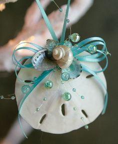 Ocean Sand Dollar Ornament, Aqua shell, beach christmas, beach houses, dollar crafts, dollar ornament, xmas ornaments, sand dollars, christmas ornaments, christmas trees