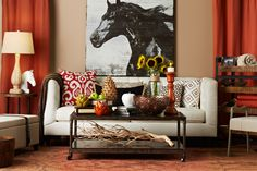 This New Country styled living room is laid-back but beautifully rustic and elegant.     Find out what type of home decor style you have by taking our Stylescope quiz. Click here!