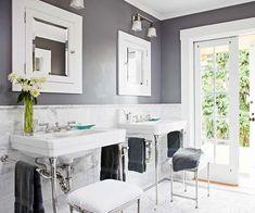 decor, wall colors, grey walls, bathroom colors, gray walls, going gray, medicine cabinets, white bathrooms, master baths