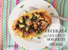 Enchilada Stuffed Spaghetti Squash - Peas of Cake