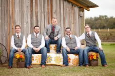 Real Weddings: Ashlei & Steven in Plant City, FL | haybale couch, Grandma Welch's pinwheel quilt