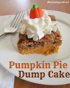 Pumpkin Pie Dump Cake  Ingredients:  1 can (15 0z.) pumpkin puree (not pumpkin pie mix)  1 can (12 oz.) evaporated milk  3 large eggs  1 cup sugar  1 tsp. ground cinnamon  1 box Spice Cake Mix  1 cup butter, melted  [Pin It]