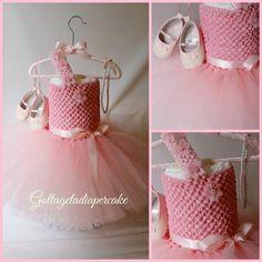 tutu dress, pink tutu, Dress diaper cake, Girls diaper cake, Baby shower gift, pink diaper cake, centerpiece on Etsy, $80.00
