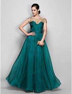 A-line Bateau Floor-length Chiffon Evening Dress