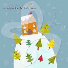 Set high up on a hill, the images of this wintery dwelling are a great selection of cute Christmas clip art and Christmas tree clip art alike.   #clipart