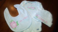 Going home from hospital outfit,that I will put in a shadowbox later for nursery wall.