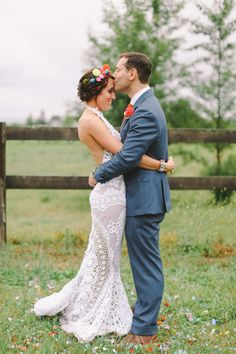 Antique lace wedding dress, photo by Lara Hotz http://ruffledblog.com/australian-polo-club-wedding #weddingdress #bridal