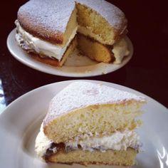 Old-Fashioned Sponge Cake with Rhubarb Rosewater Jam.