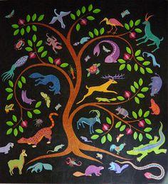 """Arbol de Vida"" (tree of life)by Judy Coates Perez.  Painted whole cloth quilt. fiberquilt art, paint thread, inspir art, tree quilt, whole cloth quilts, paint process, design, tree of life, thread project"