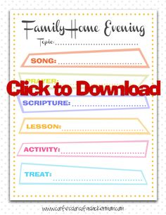 Family Home Evening Chart printable