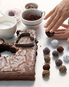 Brownie hearts  truffles: after you cut out the hearts, roll the brownie leftovers into bite-size morsels. Once coated with cocoa or sugar, they resemble truffles.