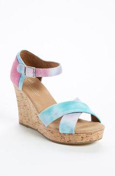 My next pair of Toms!!  TOMS Tie Dye Wedge Sandal | Nordstrom