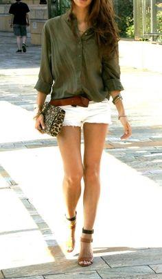 Army green shirt, white shirts, cheetah print clutch and heels!