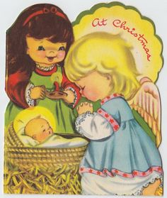 Vintage Greeting Card Christmas Die-Cut Cute Angels Baby Jesus Nativity e585