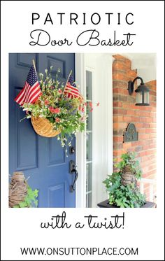 Festive door basket perfect for July 4th or Labor Day. Shows how to add living ivy to the basket. Easy DIY!