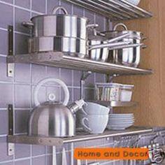 IKEA Stainless Steel Kitchen Pots Pans Rack Wall Shelf Grundtal | eBay
