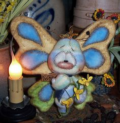 "Primitive Raggedy Butterfly Bear Bug 6"" Flower Doll ★ Vtg Patti's Ratties Ornie"