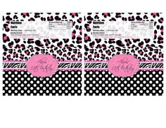 PINK BLACK DIVA candy bar label  You Print by PrettyPartyCreations, $8.00