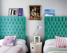 Aqua velvet headboard -- so cute for a kids room!