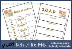 Study Ruth of the Bible with these FREE notebook pages and daily schedule! free notebook, free printabl