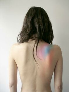It looks like stained glass light on the skin. So simple and beautiful.