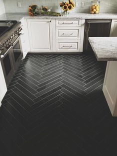 interior design, herringbon tile, floors, tile patterns, floor design, herringbone, kitchen, white cabinets, floor patterns