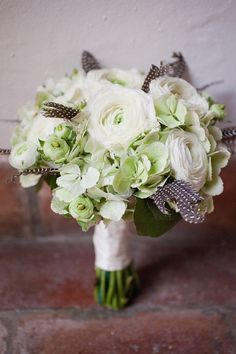 Mint and feather bouquet